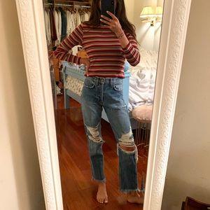 Brandy Melville stripe ribbed long sleeve 70s tee